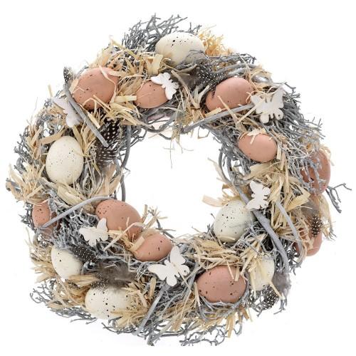 Στεφάνι ξύλινο με αυγά Φ34