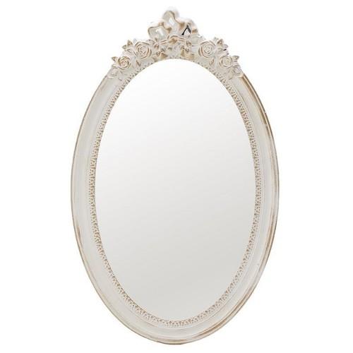 Καθρέφτης σκαλιστός οβάλ κρεμ
