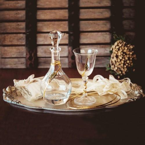 Σετ γάμου διακοσμημένο με πορσελάνινα φύλλα ελιάς