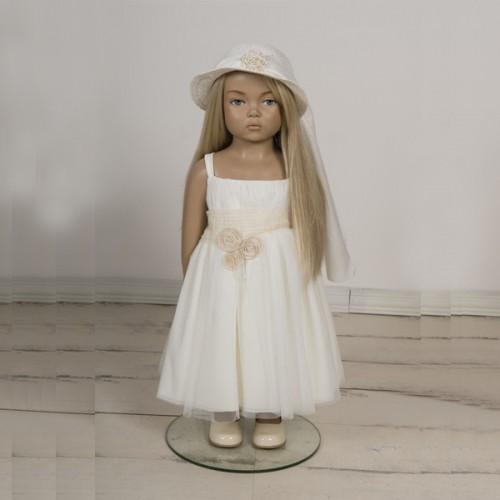 Φορεματάκι βάπτισης λευκό τούλινο με λουλούδια