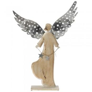 Ξύλινος άγγελος με φτερά μεταλλικά ασημί 60x8x80cm