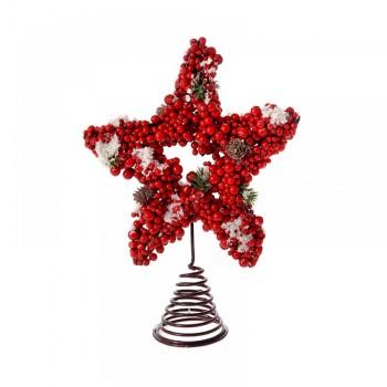 Αστέρι κορυφή δέντρου με berries 27x21cm