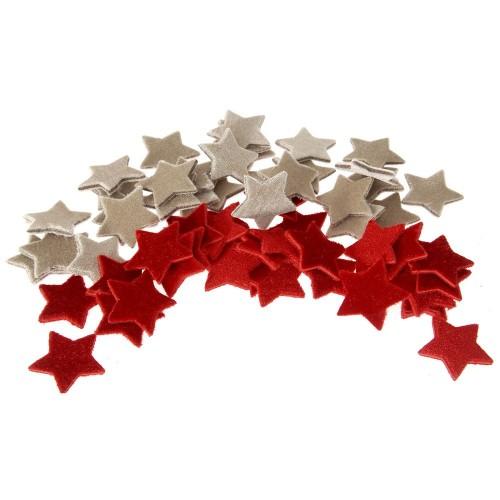 Υφασμάτινα αστέρια 4cm -Συσκ: 60τεμ