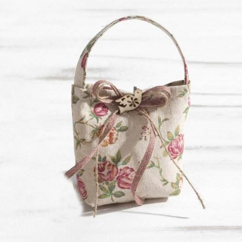 Πουγκί λινό floral τσαντάκι 12x18cm