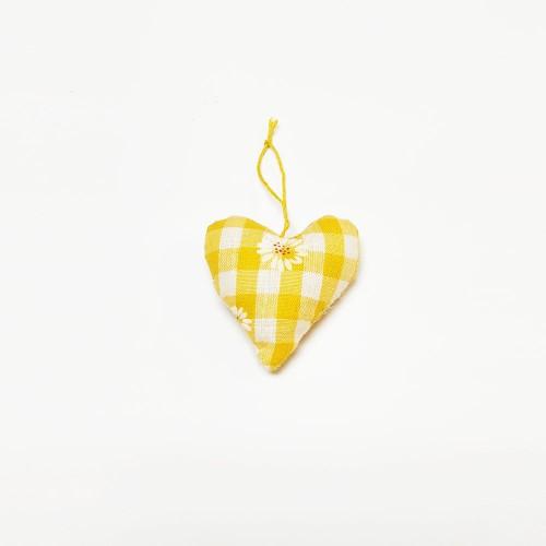 Υφασμάτινη καρδιά κίτρινη 4,50x5,50cm
