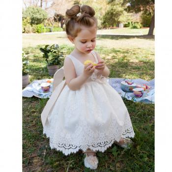 Φόρεμα βάπτισης λευκό με δαντέλα Μ. Τσέλιος a568fb19e59