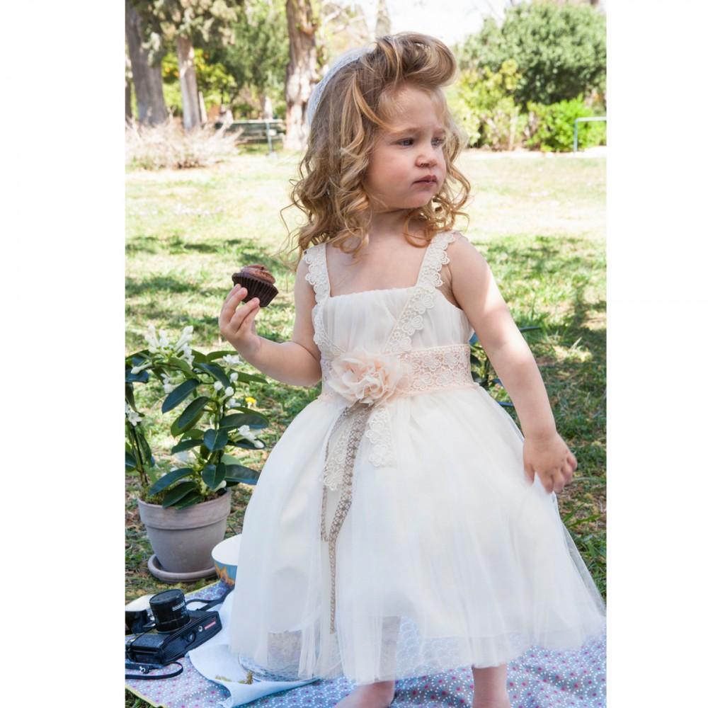 50c034436341 Βαπτιστικό φόρεμα τούλινο λευκό με δαντέλα για κορίτσι