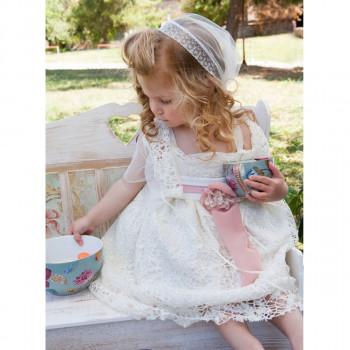 Φόρεμα βάπτισης εκρού με δαντέλα Μ. Τσέλιος c30ad8ffa62