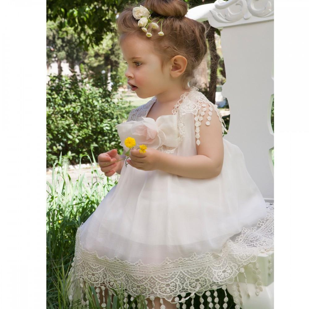 8c6567048d39 Βαπτιστικό φόρεμα λινό εκρού με δαντέλα για κορίτσι