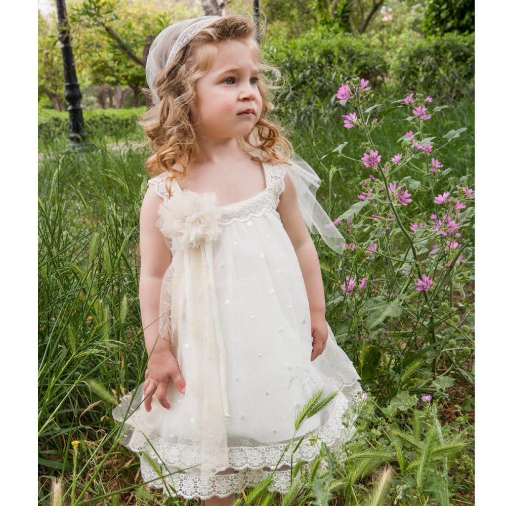 bf853b6c3ac Φόρεμα βάπτισης τούλι πουά με δαντέλα Μ. Τσέλιος