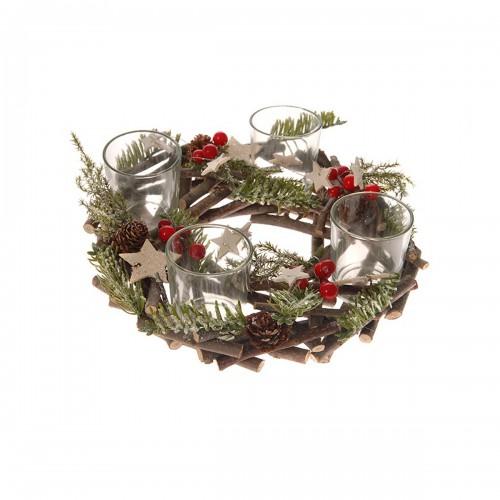 Χριστουγεννιάτικο κηροπήγιο στεφάνι 24x9cm