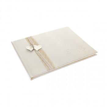 Ευχολόγιο γάμου λευκό με καρδιά 25x32cm 35σελίδες
