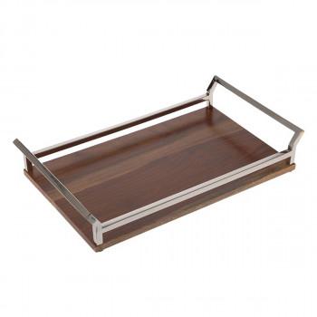 Δίσκος ξύλινος με ανοξείδωτα χερούλια 49x28x9cm
